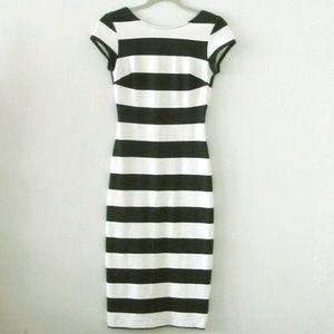 Zara Black/White Striped Low Back Midi Dress Sm
